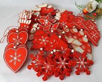 Christmas 45 Wooden Hanging Red White Tree Decorations Stocking Star Snowflake +