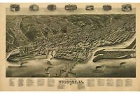 Map Of Dubuque, Iowa; Antique Map; Pictorial or Birdseye Map, 1889