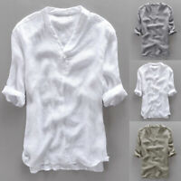 INCERUN Mens Casual Cool Shirt Short Sleeve Linen Retro Summer Japanese T-shirt