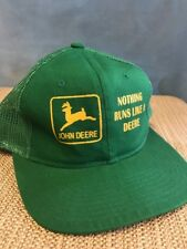 John Deere Mesh Hat Trucker Snapback Nothing Runs Like A Deere Vintage Green