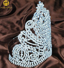 "Gorgeous Large 9"" Tiara Crown Rhinestone Headpiece Wedding Beauty Pageant Party"