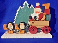Vintage Penguin Reindeer Sleigh Christmas Tree Wood Carved  ▬ SANTA CLAUS ▬ ❤️