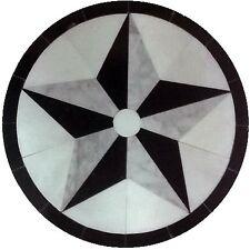 MARBLE FLOOR MEDALLION MOSAIC BLACK AND WHITE GRANITE 36 TEXAS STAR