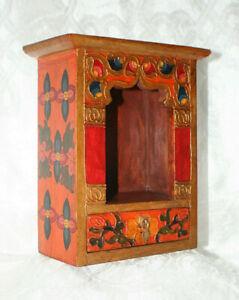 Schrein Altar Tibetischer Hausaltar Holz Orange Nr.28  DORJE NEPAL BUDDHA TIBET