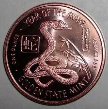 2013 US 1 ounce .999 Copper, Snake, Serpent, animal wildlife, Token coin