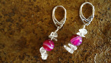 Sterling Silver .925 Lever Back Earrings w/Clear Stone Chips & Pink Agate Bead