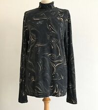 DRIES VAN NOTEN Black Marble Print, Turtleneck Jersey Sweater - Medium