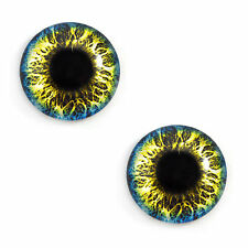 Pair of 30mm Blue and Yellow Fantasy Glass Eyes for Jewelry or Doll Making