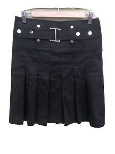 vintage 90s karen millen black short pleated skirt uk 12 y2k ladies womens