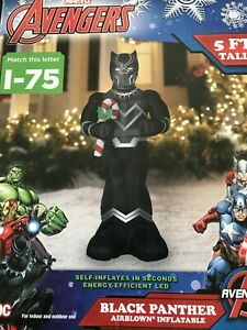 Black Panther Avengers AirBlown Inflatable Christmas Gemmy 5ft RARE w/Candy Cane