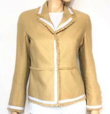 SCAPA camel linen blazer with white trims - size 38 jacket