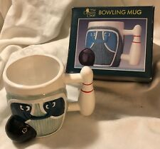 Bowling Coffee Mug Hand Painted Bag Ball Pin Box The Captain's Chest Gift 1992