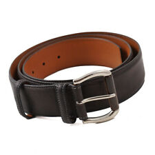 New $350 SANTONI Dark Gray Smooth Calf Leather Belt 46 W (Eu 115cm)