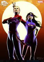 Super Rare Capt Marvel Ms Marvel Original Art Duos Heroines Topps Marvel Collect