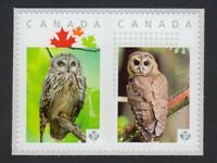 lq. OWL=bird se-tenant pair Picture Postage stamps MNH Canada 2016 [p16/01owse2]