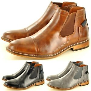 Mens Chelsea Boots Italian Style Pointed Toe Slip on Ankle Boots UK Sizes 7-12