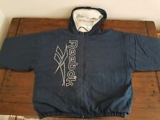 Men's Vintage 1990s Blue REEBOK Hip Hop OG Windbreaker Hoodie Jacket Coat Sz-XL