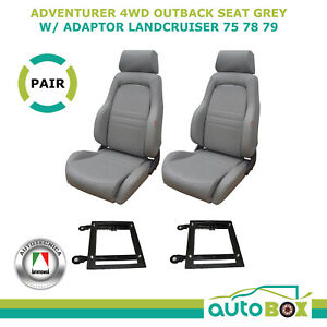 Sports Bucket Seats for Toyota Landcruiser 75 78 79 series Pair Grey w/ Adaptors