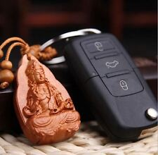 Handcarved Rosewood Guanyin Buddha Key Ring in Velvet Pouch/FREE P&P