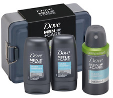 Dove Men+Care Tin Gift Set Travel Size 2 X Body & Face Wash And Deodorant
