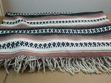 "Area Rug Hand Woven Fringe Throw Carpet Cotton Stripe Mauve White Black 82"" x60"""