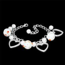 White Pearl Glass Flower Bead Love Heart Charm Bracelet nickel free jewellery UK