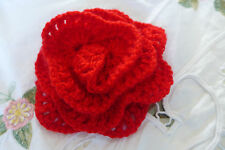 Flower Brooch Pin Red Acrylic Handmade Crocheted For Clothes Scarfs Hats Bags