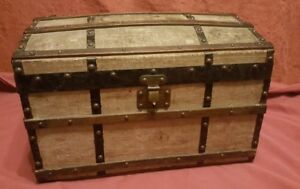 Very Unusual Small Version French Travelling Truck - Canvas/ Wood with Labels