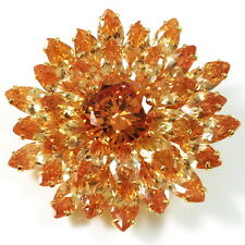 USA BROOCH use Swarovski AB Crystal PIN rhodium flower round orange platinum NEW