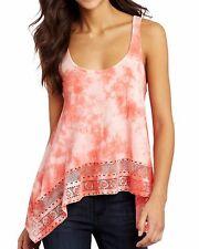 ROXY Women's Pink Tie Dye True Promise Casual Crochet Scoop Tank Top Shirt