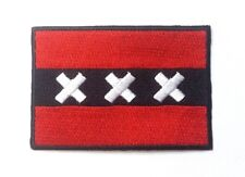 Amsterdam City Flag Iron-On/Sew-On Embroidered Patch, Netherlands Holland