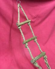 Natural Wooden Rope Ladder 3 Steps Exercise Gnaw Chew Wood Toy 21 x 5 inch