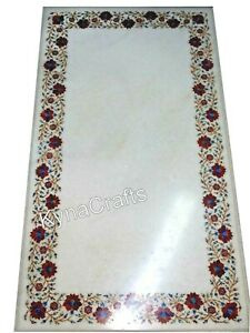 White Marble Dining Table Top Red Stone Inlaid Work Center Table 30 x 60 Inches