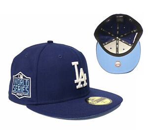 LA Dodgers 2020 World Series Side Patch 59Fifty Fitted Hat Icy Blue Undervisor