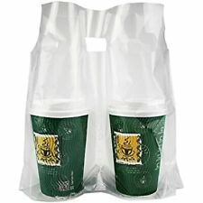 Clear Handle Drink Drinking Poly Plastic Packaging Bags For Shops Stores Dining