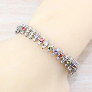 Peridot Garnet Amethyst Topaz Multi Gemstones 925 Silver Bracelet Bangle Jewelry