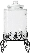 5 Gallon Hammered Glass Beverage Dispenser Metal Stand Party Wedding Cold Drink