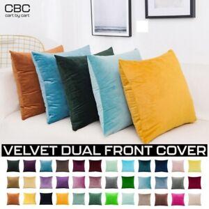 Velvet Cushion Cover Soft Solid Plain Colours Home Decor Sofa Throw Pillow Case