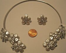 Necklace Earring Set Flower White Fresh Water Pearl Rhinestone Choker NWT L816
