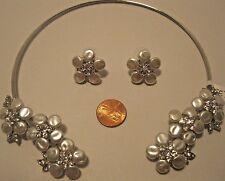 Necklace Earring Set Flower White Fresh Water Pearl Rhinestone Choker NWT L816