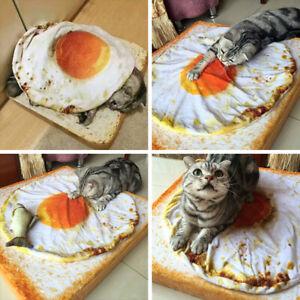 Creative Pet Cat Dog Warm Soft Fried Egg Plush Blanket Bed Mat Cushion Faddish