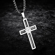 Women Mens Crucifix Stainless Steel Gold Silver Cross Necklace Square Rolo Chain