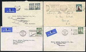 SOUTHERN RHODESIA 4 ENVELOPES 1943-52 AIRMAIL 1/- + 2d...SLOGAN POSTMARKS