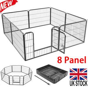 Heavy Duty 8 Panel Puppy Dog Playpen Exercise Pen Fence Whelping Box Foldable UK
