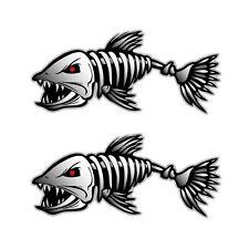 2 Fish Skeleton Decals Sticker Fishing Boat Canoe Kayak Graphics Accessories