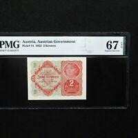 1922  Austria 2 Kronen Pick # 74, PMG 67 EPQ Superb Gem Unc. High Grade.