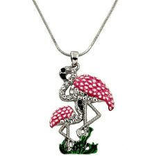 """Pink Flamingo Mom and Baby Pendant Necklace with 18"""" Chain Gift Boxed"""