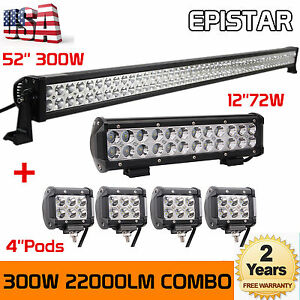 "300W 52"" LED Light Bar + 72W 12"" LED Light Bar + 4PCS 18W 4"" LED Bars Lamp Pods"