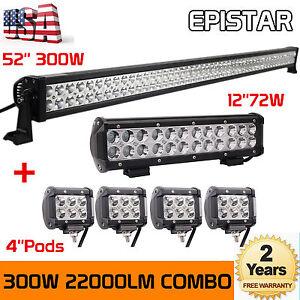 "300W 52"" LED Light Bar + 72W 12"" LED Light Bar + 4PCS 18W 4"" LED Bars Lamp Pods"