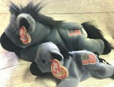 Lefty Donkey 4th/3rd Gen 1996 PVC Retired Beanie Baby Collectible & Buddy Lot
